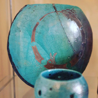 Claudia Luque Studio - turquoise vase with dragon